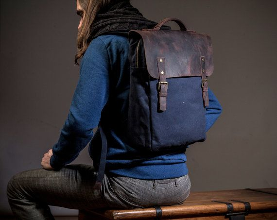 This is a comfortable slim backpack, perfect for both women and men, with a leather cover and wide shoulder straps.  It is specially made to carry a 15 laptop, with its own padded slot within the main space. Also, there are 2 small pockets inside and one big frontal pocket, easily accessible. To preserve the character of the fabrics and to make them last longer, I waterproofed the leather and the lining. If the rain will take you by surprise, the book you will read at that time will stay…