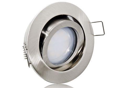 LED Einbaustrahler Set extra flach mit Marken Flat LED Spot LcLight 5 Watt Alu-Druckguß Rund Klickverschluß Dimmbar 40 Watt Ersatz