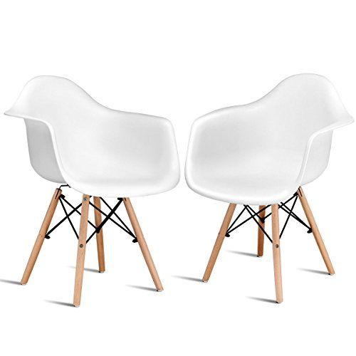 Giantex Set Of 2 Mid Century Modern Molded Style Dining Arm Chair