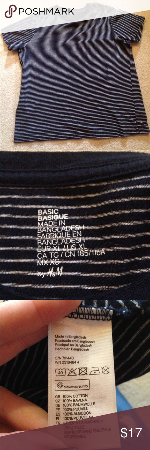 """Navy and white striped H&M tshirt This is cute to layer or to wear on its own! It has no holes or stains, it comes from a smoke free environment! I ship Monday-Friday! I don't negotiate the price in the comments. """"No trades, holds, or modeling. And no sales outside poshmark."""" Price is firm H&M Tops Tees - Short Sleeve"""