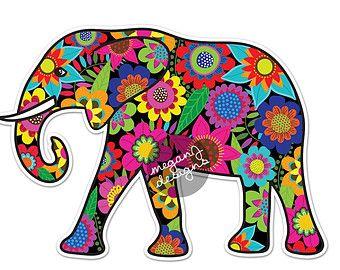 Elefante etiqueta negro Paisley coloridas por MeganJDesigns en Etsy