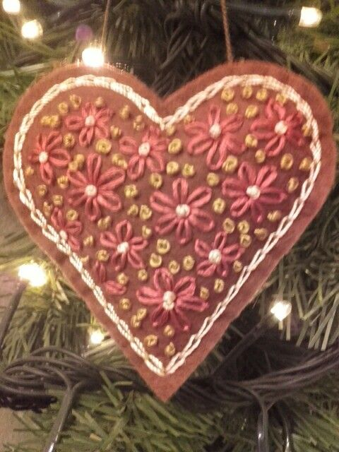 felt heart, christmas and Valentine day ornament.