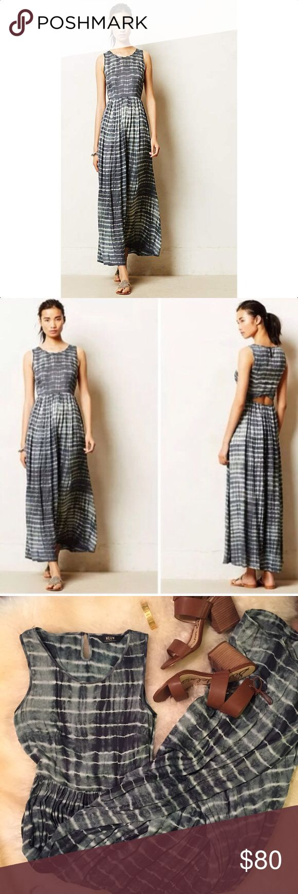 Anthropologie Shibori Maxi Dress by Neuw / Size XS Anthropologie Maxi Dress in a Tie Dye print with super cute back detail. Anthropologie brand is Neuw. Excellent condition, worn once Anthropologie Dresses Maxi
