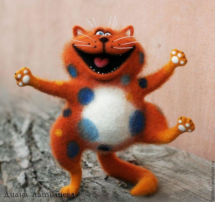 чУдО гороховое )) - рыжий,кот,интерьерная игрушка,авторская игрушка,Валяный кот