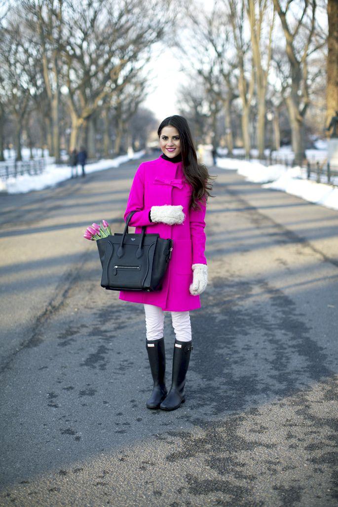 2.13 pink in central park (J Crew coat + Club Monaco turtleneck + JBrand pants + Hunter boots + Celine bag + H&M mittens + DownEast Basics earrings)