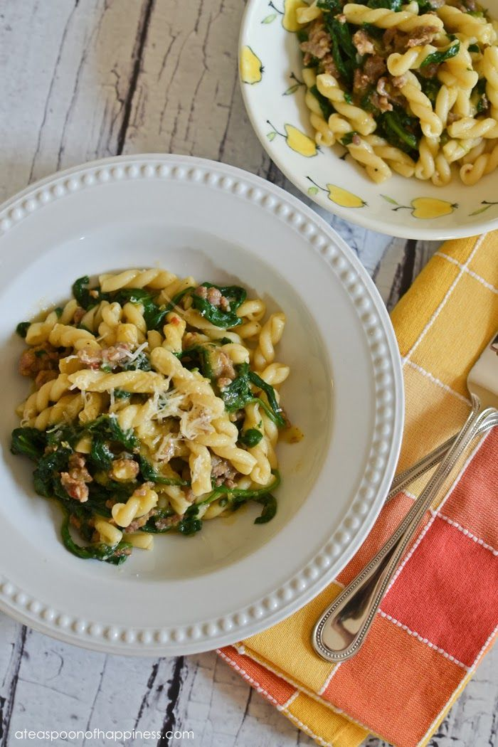 Smokin' Oven: Pasta with Butternut Sauce, Sausage and Spinach ...