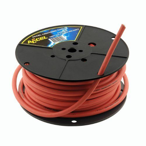 Accel 1844 Red 2-Gauge 100' Spool Silicone Battery Cable by Accel. Save 49 Off!. $142.39. Accel Lightning Cable allows your race car to have the same amount of energy and power running through your battery cables at half the weight. Industry leading copper clad aluminum which allows maximum energy transfer. The 4, 2, and 1/0 gauge cable is half the weight of traditional battery cable. This allows you to lighten up your car or add weight where it will help the car handle bet...