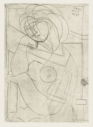 Pablo Picasso (Spanish, 1881–1973)  Dreamy Woman in Armchair, Her Cheek on Her Hand from the Vollard Suite