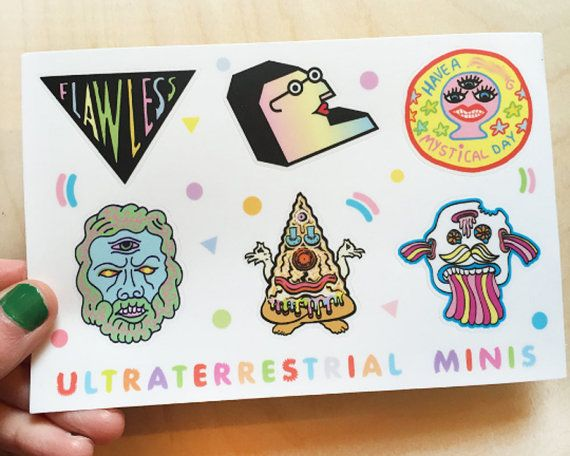 Ultraterrestrial minis sticker sheet 6 stickers fun cool decorative rad stickers