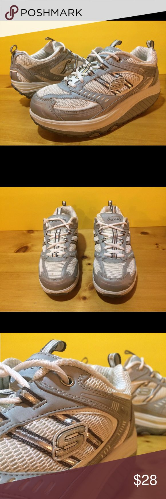 Women's Size 8 Silver Skechers Shape Ups Shoes Women's size 8 silver Skechers Shape-Ups shoes. See photos and please message with any questions! :) Skechers Shoes Sneakers