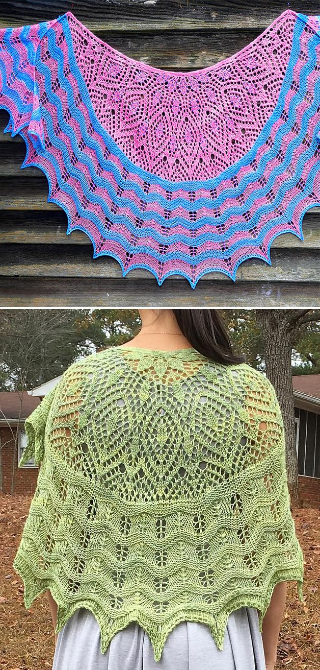 Free Knitting Pattern for Anna's Hope Lace Shawl - Crescent shaped lace shawl with alternating stripes of lace and garter stitch. Designed by Anna Victoria. Pictured projects by the designer and klaraskreations. Fingering weight or lace held double.