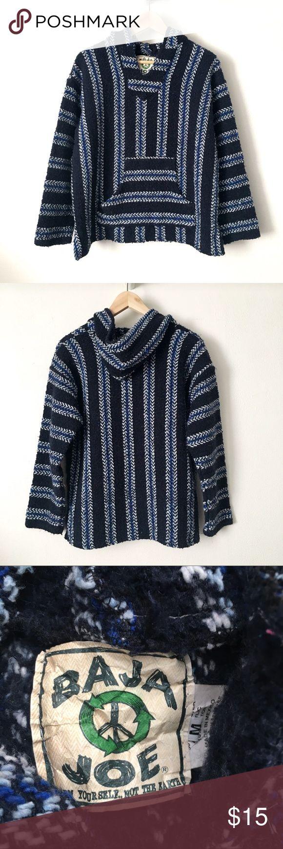 🆕 Listing!  Baja Joe   Hoodie Navy, blue, and white striped environmentally friendly hoodie.  This is marked a M.  Fits like a Women's M, mens S. Baja Joe Sweaters