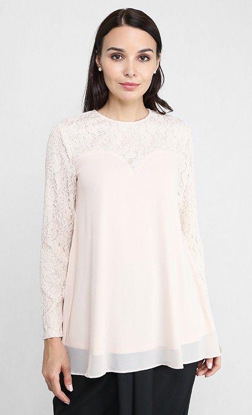 Cream Lace Chiffon Long Sleeve