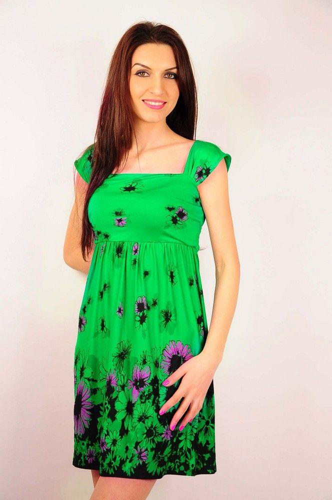 Rochie RVL verde cu imprimeu floral