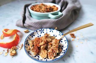 Havermout appel crumble: een combinatie van appel en havermout is eigenlijk altijd een succes.