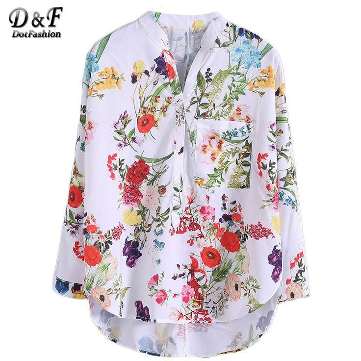Dotfashion Multicolor V-hals Bloemenprint Tops Blouses Casual 2016 nieuwe Shirts Voor Vrouwen Vogue Lange Mouwen Knoppen Dip Zoom Blouse
