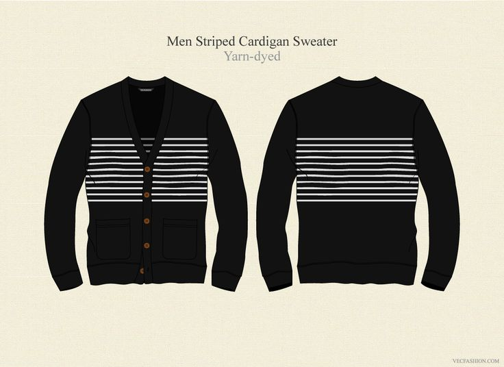 Men Striped Cardigan Sweater by VecFashion on Creative Market