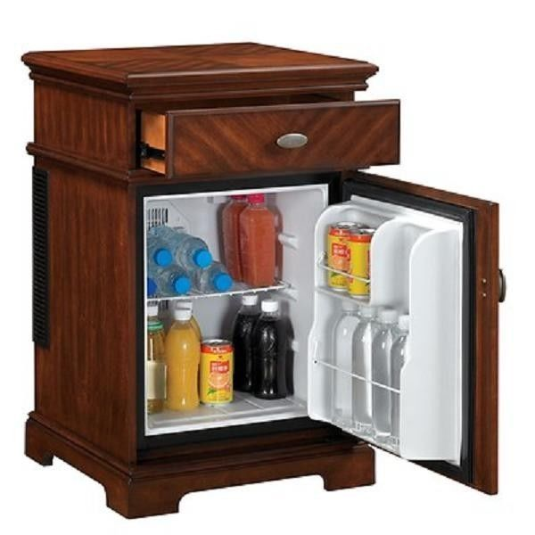 Compact refrigerator end table furniture mini fridge chest college