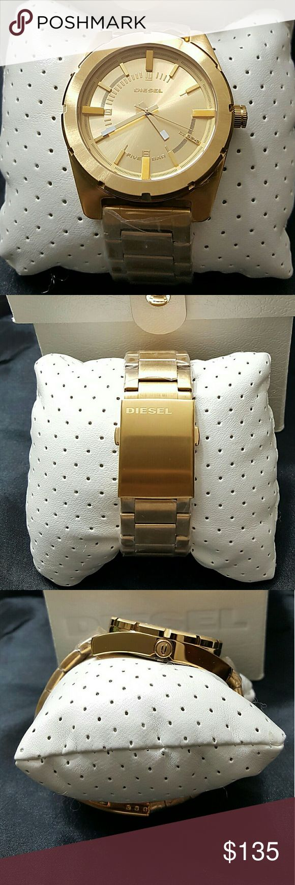 Big Sale,NWT Diesel gold watch Sale firm price  Brand NWT Diesel Men's gold Watch.   Still have the plastic on the band and the back of the watch   FIRM PRICE FIRM PRICE FIRM  $299.00 . AUTHENTIC WATCH . AUTHENTIC BOX . AUTHENTIC MANUAL   SHIPPING PLEASE allow few days for me to shipped it. I have to get it from my store.   THANK YOU FOR YOUR UNDERSTANDING. Diesel Accessories Watches