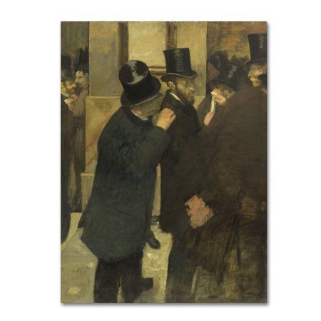 Trademark Fine Art 'Portraits At The Stock Exchange' Canvas Art by Degas, Brown