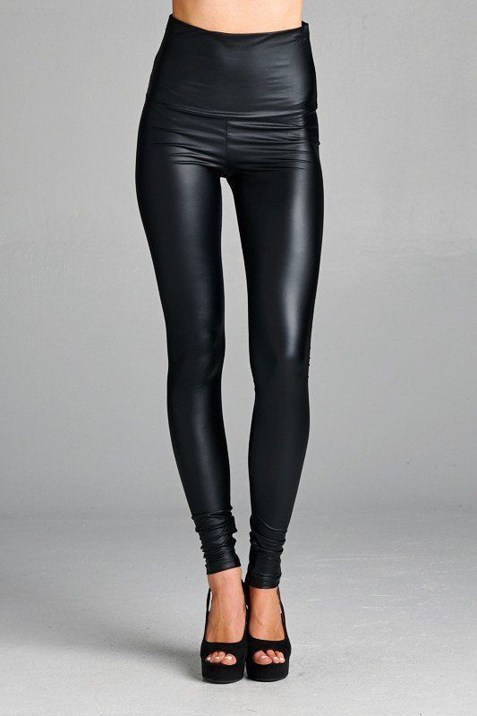 BEST SELLER ALERT Fitted pleather legging. Can be worn high waisted or folded over. This pleather legging is made with medium weight pleather fabric that is semi-matte, stretches extremely well, and i