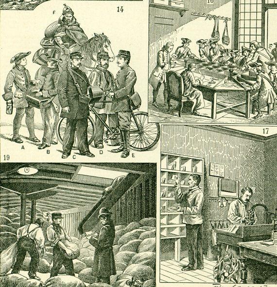 1897 La Poste Histoire PTT Courrier Lettre Affranchissement Timbres Planche originale  Larousse Illustration Grand Format 19ème siècle