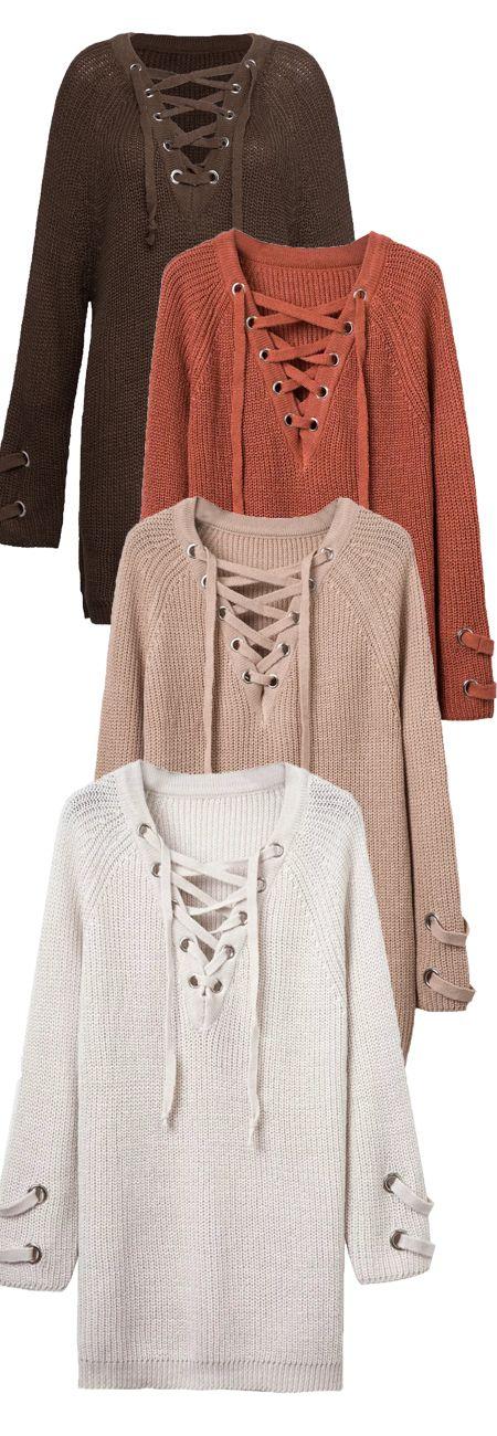 4 Plunge Neck Long Sleeve Knit Dresses $36.99 on Stayingsummer!