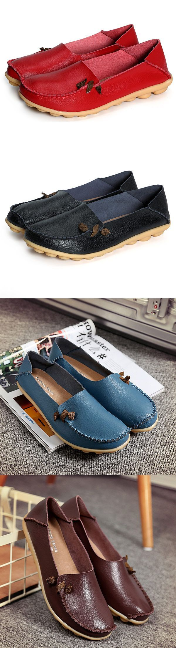 Large Size Soft Leather Multi-Way Flat Loafers For Women#shoes #redshoes #mystyle