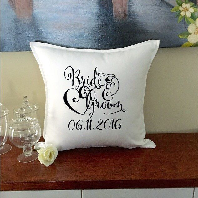 New item up in the boutique. This bride and groom wedding date pillow is the perfect Wedding gift for the happy couple  #etsy #wedding #newitem #pillow #brideandgroom