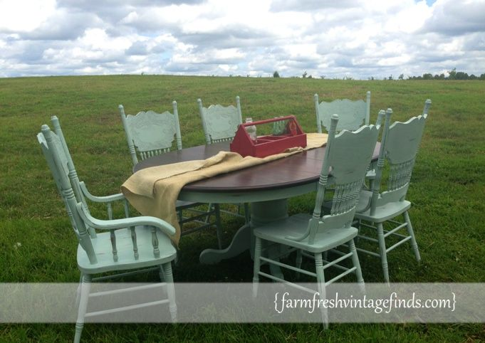 How to Update a Boring Oak Table and Chairs - Farm Fresh Vintage Finds