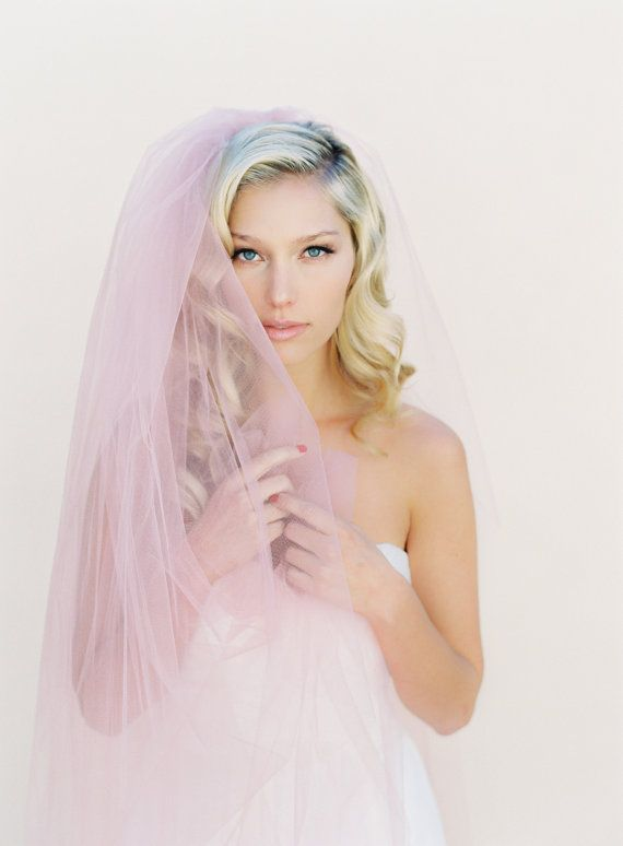 Blozen sluier eenvoudige bruidssluier enkellaags door VeiledBeauty