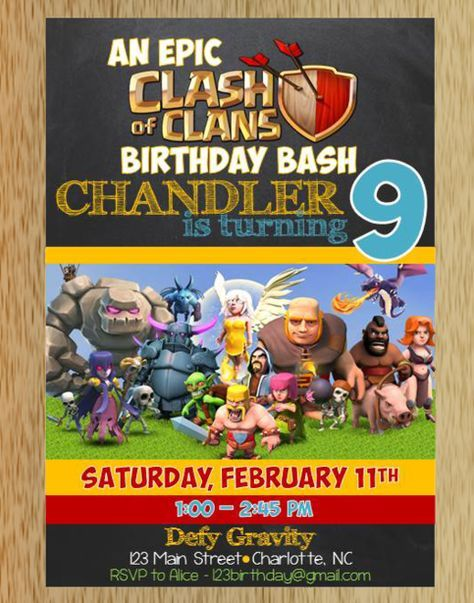 Clash Of The Clans Birthday Invitation Clash Of Clan Birthday