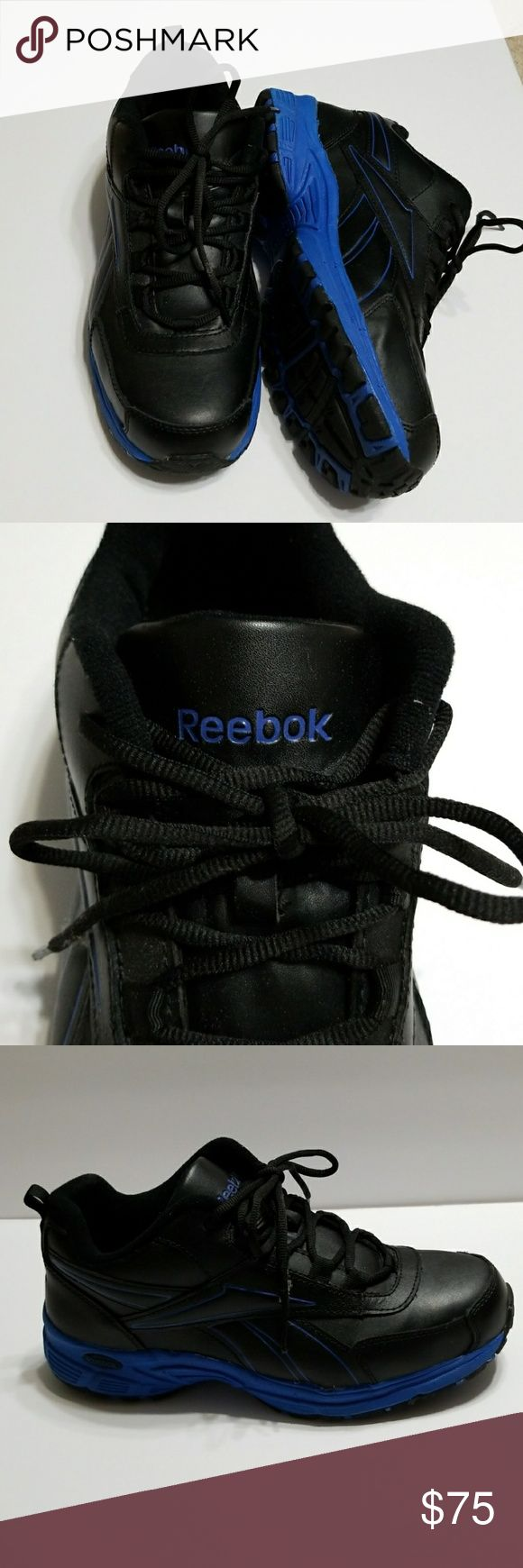 Reebok steel toed tennis shoes Black with blue trim stelled toed shoes 9 1/2 w Reebok Shoes Sneakers