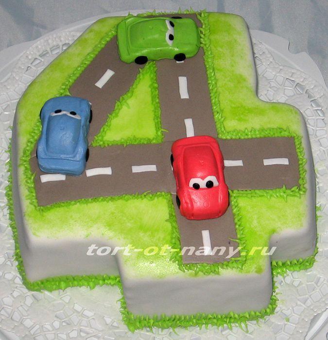 Торт с машинками на 4 года мальчику
