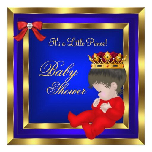 baby shower royal red blue gold boy crown prince 3 card