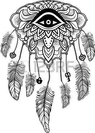 native american tattoo: Native American Indian talisman dreamcatcher with eye, feathers, key,