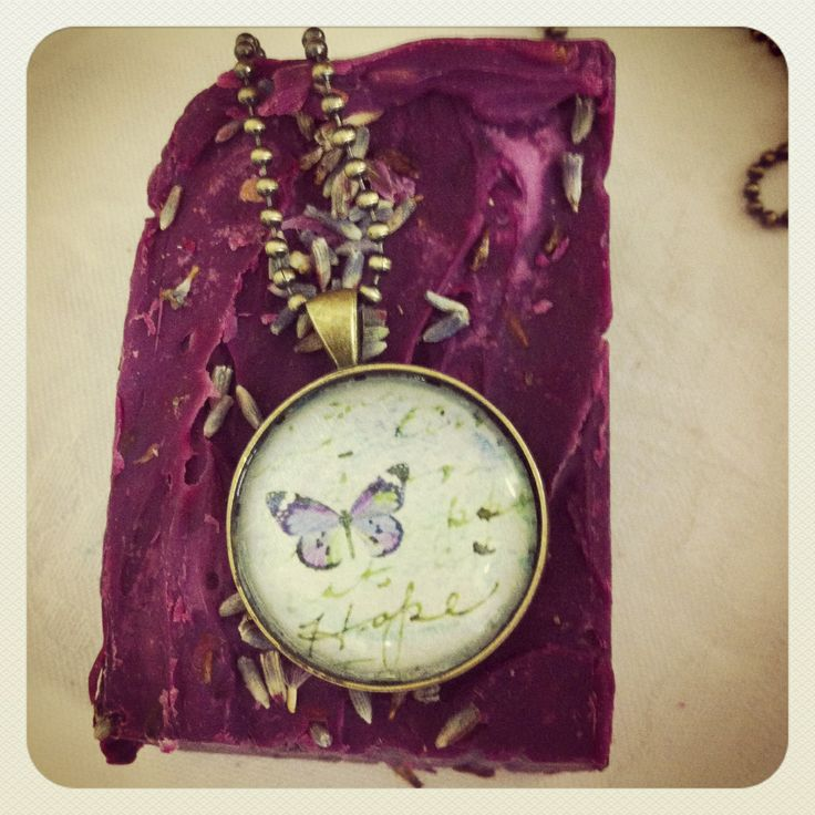 Bellbirds butterfly pendant www.bellbirddesigns.com with lavender soap www.lasirenearomatica.weebly.com