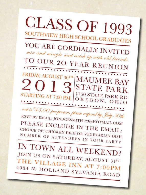 21 best Exceptional Reunion Invites images on Pinterest Class
