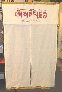 Noren/Curtain - Om In Zen Circle: Noren / Curtain - Tibetan, Om Mani Padme Hum