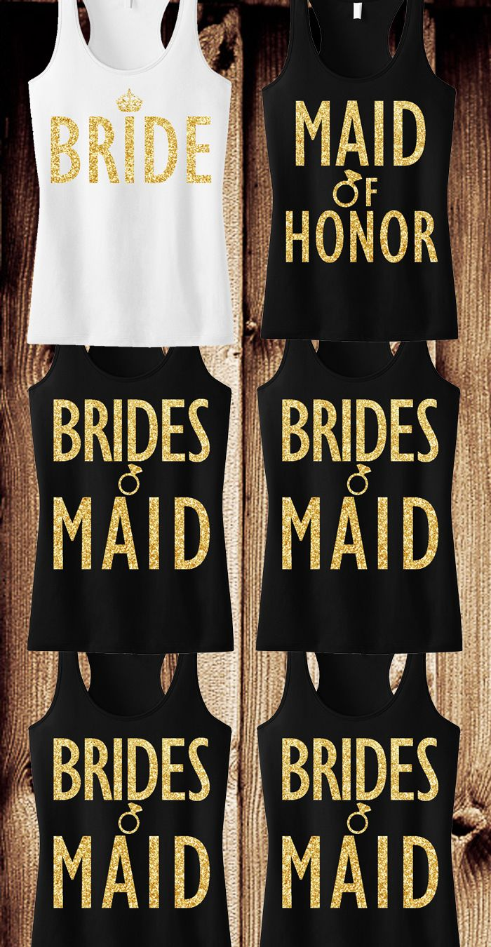 Gold Glitter #Bridesmaid tank tops. Cute for the Bachelorette Party! Mix and match, buy more and save at www.MrsBridalShop.com