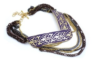 """Bizancio violet bracelet by Argentina jewelry designer Fernanda Sibilia.Her new jewelryline features sublime artisan jewelry pieces like thisgorgeous glossy purple enamel necklace with a sweet gold floral pattern and chains in copper, 22k gold plated and gun metal. The Bizanico necklace is named after """"Bizancio,"""" Spanish word meaning """"Byzantium."""""""