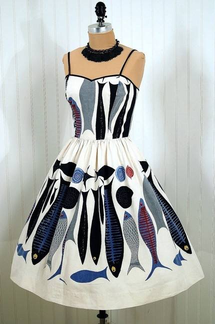 vintage abstract fish print day dress