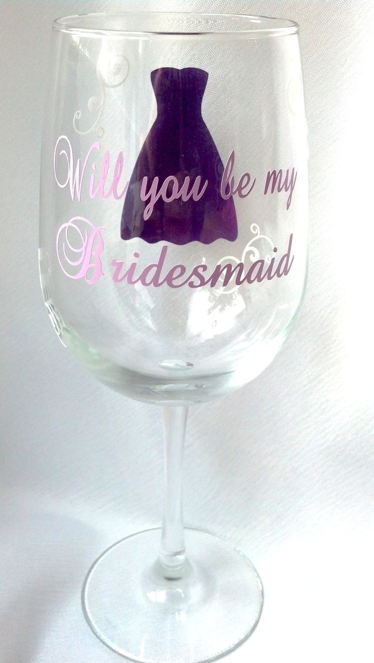 How to decorate wine glasses for bridesmaids - Will You Be My Bridesmaid Wine Glass Date On By Waterfalldesigns 13 00