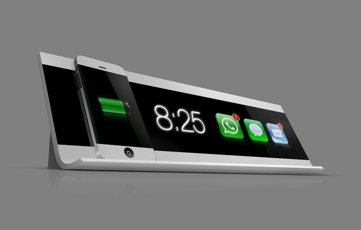 Coolest iPhone charging station ever! To be made in white and black. Displays both time and received E-mails, messages or calls.