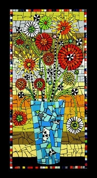 love this: 2011 Flair, Paper Mosaics, Flair Robinson, Art Inspiration, Black Paper, Mosaics Flower, Buzz Blossoms Flair, Photos Shared, Stained Glasses