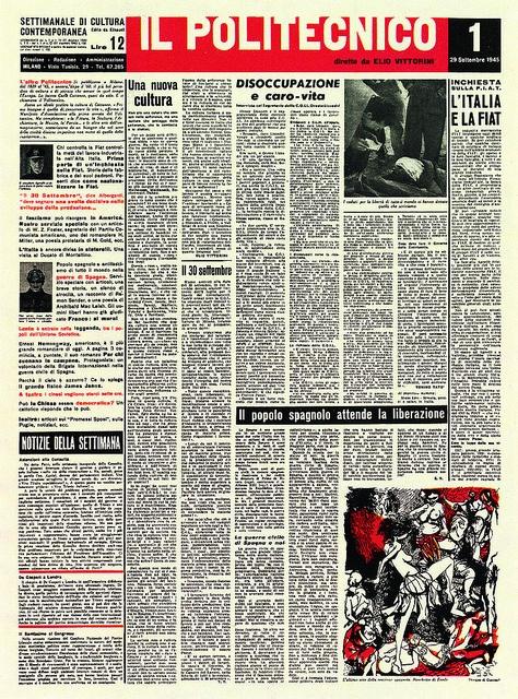 Albe Steiner. Prima pagina II Politecnico. Giulio Einaudi Editore, Torino 1945. Archivio Albe e Lica Steiner, DPA, Politecnico di Milano