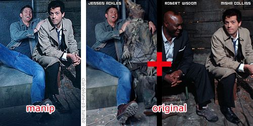 Left [Manip] / Right [Original]: Jensen Ackles (Supernatural S3 EP13 on set) + Robert Wisdom and Misha Collins (Supernatural S4 EP09 on set) http://clairdelune-sb.tumblr.com/post/63819683800/part-14 #NOTJensenAckles #JensenAckles