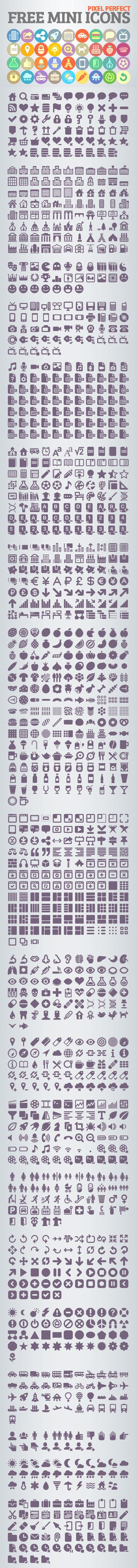 1200+ PixelPerfect Free Mini Icons, Best For UI Design