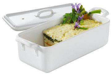 Revol Porcelain Belle Cuisine 35.75 oz. Rectangular Terrine with Lid - contemporary - Baking Dishes - FactoryDirect2you