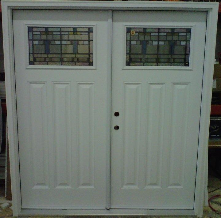 "36"" RHI Double Entry Door System  6 Panel Elongated Fiberglass Doors  w/ 2515 Black Prairie Lights  White Composite Jamb & Brick Molding"
